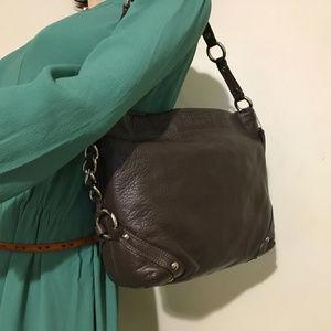 COACH Dark Chocolate Leather Slim Carly Hobo